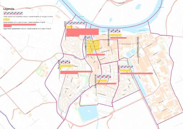 Figuur 4: Verdeling waarde, aantal toestellen en oppervlakte speelplekken per buurt
