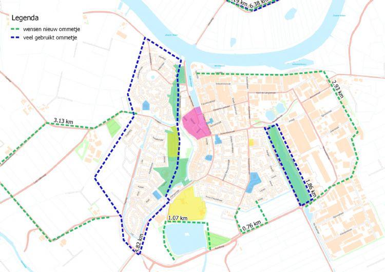 Figuur 6: Samenvatting veel gebruikte routes en wensen voor nieuwe routes