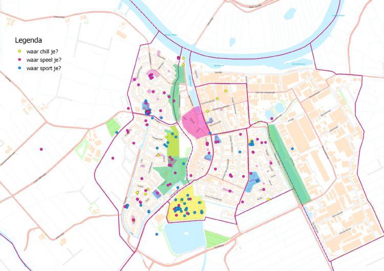 Figuur 7: Gebruikersinformatie over plekken waar kinderen chillen, spelen en sporten