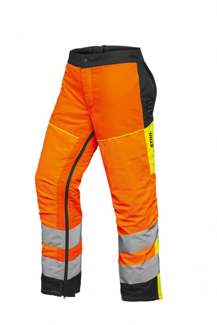 De volledige beenbeschermers STIHL Protect MS 360° in signaaloranje voldoen aan de eisen van veiligheidsklasse 2.