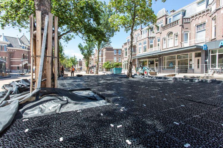 De AquaMulti Airbox-sandwichconstructie beschermt boomwortels en bestrating in Den Haag.