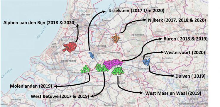 Overzichtskaart van de verschillende gemeentes waar Tree-o-logic essen gemonitord heeft