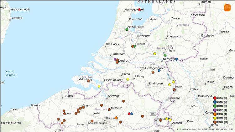 Overzichtskaart Roetschorsziekte 2-2-2021 in NL en BE. Foto: Terra Nostra