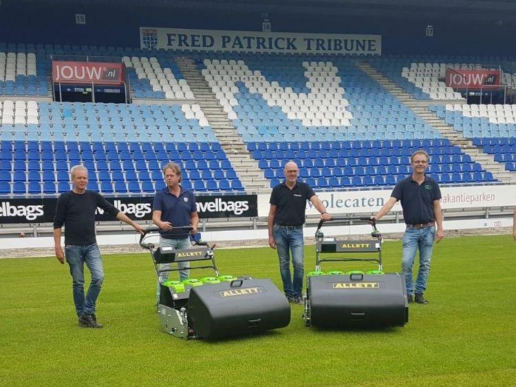 V.l.n.r. Rene Boerdijk (Hofstede-Timmerman), Alfred Meiberg (fieldmanager PEC), André Wolbrink (Greenfields) en Arjen Spek (Milati).